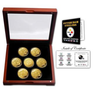 Pittsburgh Steelers 24KT Gold plated 7 Coin Super Bowl Champions Set - Multi-color