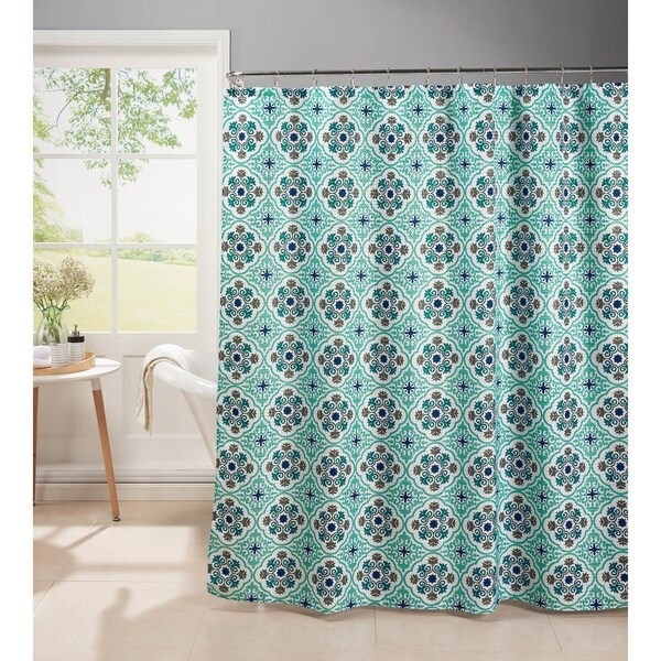 Creative Home Ideas Oxford Weave Textured 13-Piece Shower Curtain with Metal Roller Hooks in Olive Aqua
