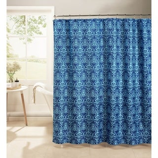 Creative Home Ideas Oxford Weave Textured 13-Piece Shower Curtain with Metal Roller Hooks in Melissa Indigo