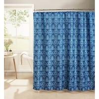 Creative Home Ideas Oxford Weave Textured 13-Piece Shower Curtain with Metal Roller Hooks in Melissa Indigo