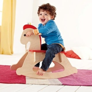 Hape Toys Red Wood Rock and Ride Rocking Horse