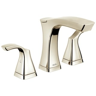 Delta Tesla 8 in. Widespread 2-Handle Bathroom Faucet in Polished Nickel w/ Metal Drain Assembly 3552-PNMPU-DST