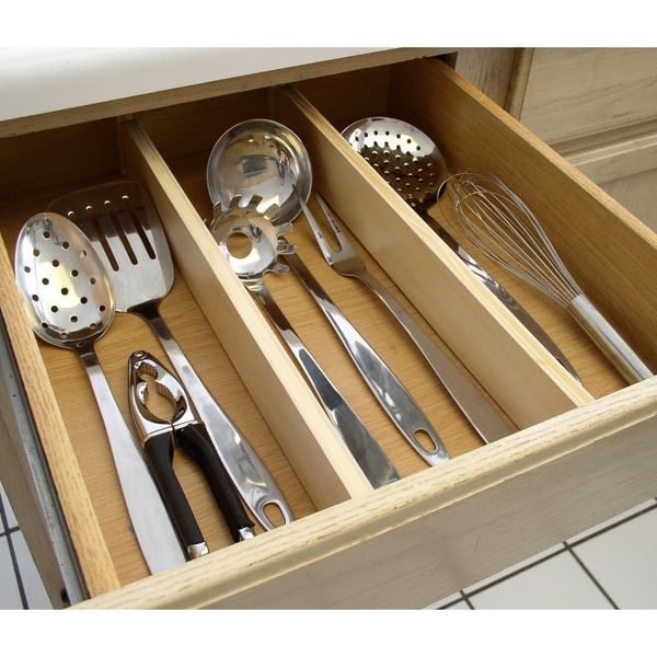 Natural Wood Expandable Kitchen Drawer Dividers 2 Piece Set