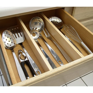 Natural Wood Expandable Kitchen Drawer Dividers, 2 Piece Set