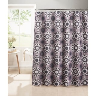 Creative Home Ideas Oxford Weave Textured 13-Piece Shower Curtain with Metal Roller Hooks in Morrocan Tile