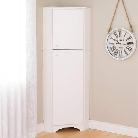 "Prepac Elite Winslow Tall 2-Door Corner Storage Cabinet - 29.25""w x 72""h x 18.75""d"