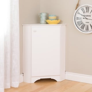 Prepac Elite Winslow White Wood Corner Storage Cabinet