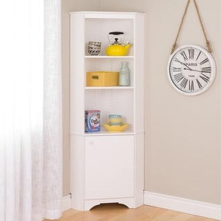 Prepac Elite Winslow White Tall 1-Door Corner Storage Cabinet