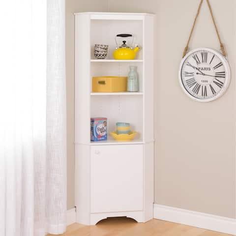 Prepac Elite Winslow White Tall 1-Door Corner Storage Cabinet