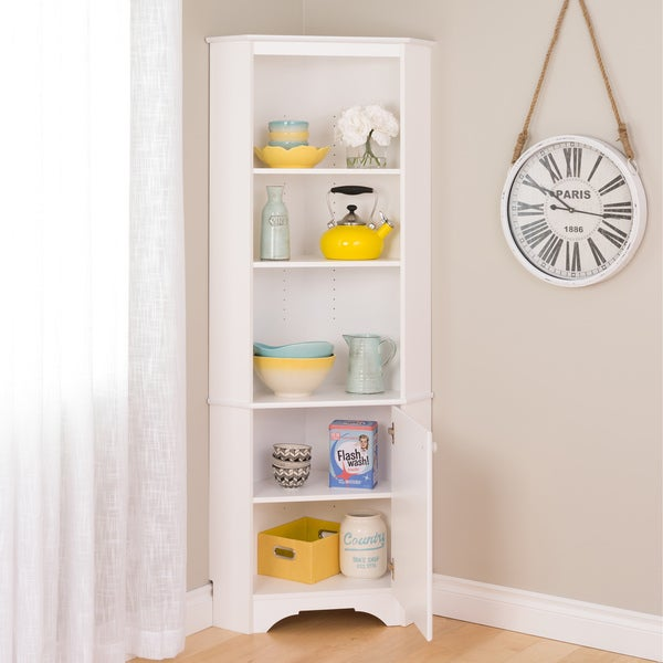 Prepac Elite Winslow White Tall 1 Door Corner Storage Cabinet   Free  Shipping Today   Overstock.com   19599970