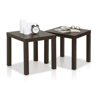 Furinno Classic Espresso Wood Cubic Side Tables (Set of 2)