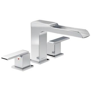 Delta Ara 2-Handle Deck-Mount Roman Tub Faucet Trim Kit w/ Channel Spout in Chrome (Valve Not Included) T2768