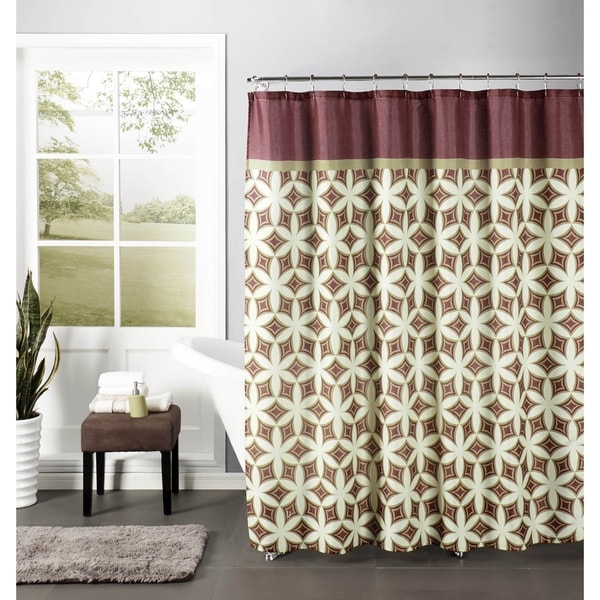 Creative Home Ideas Faux Linen Textured 13-piece Shower Curtain with Metal Roller Hooks in Harajuku Barn