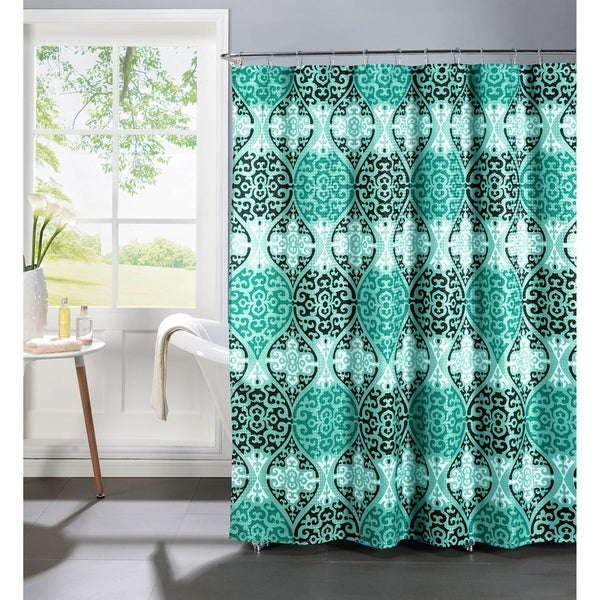 Creative Home Ideas Oxford Weave Textured 13-piece Shower Curtain with Metal Roller Hooks in Elsa Aqua and Black