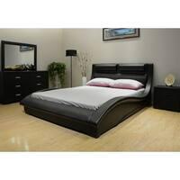 Greatime B1141  Wave-like Shape Upholstered Bed
