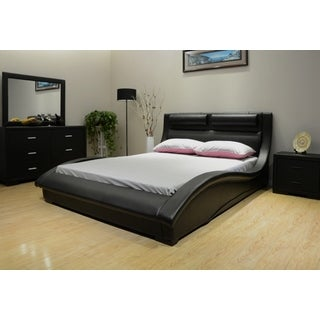 Greatime B1141 Wave-like Shape Upholstered Bed