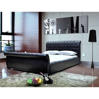 Greatime Upholstered Queen-size Sleigh Bed