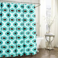 Creative Home Ideas Faux Linen Textured 13-Piece Shower Curtain with Metal Roller Hooks in Letto Turquoise/Espresso