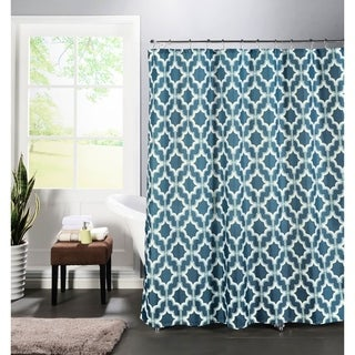 Creative Home Ideas Faux Linen Textured 13-piece Shower Curtain with Metal Roller Hooks in Loren