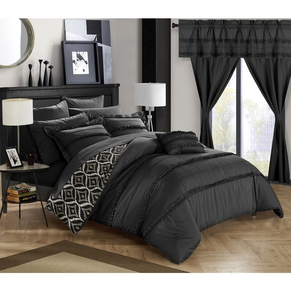 Chic Home 20-Piece Kyrie Room-In-A-Bag Black Comforter Set