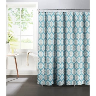 Creative Home Ideas Faux Linen Textured 13-Piece Shower Curtain with Metal Roller Hooks in Ikat Geo