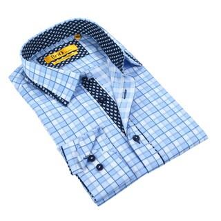 Brio Plaid Button up with Paisley Trim Dress Shirt