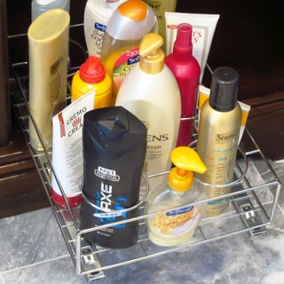 Chrome Cabinet Pull-Out Bottle Organizer