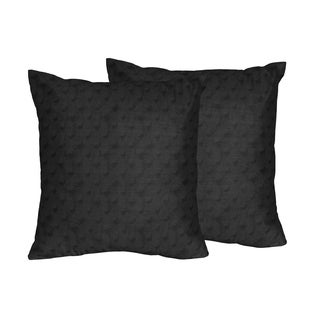 Sweet Jojo Designs Black Minky Dot Collection Black Polyester Square Decorative Accent Throw Pillows