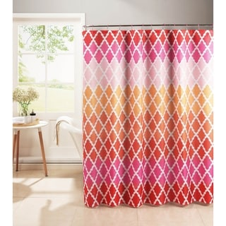 Creative Home Ideas Diamond Weave Textured 13-Piece Shower Curtain with Metal Roller Hooks in Gateway Lattice