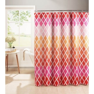 Creative Home Ideas Diamond Weave Textured 13-Piece Shower Curtain with Metal Roller Hooks in Gateway Lattice