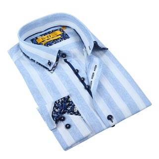 Brio Mens White & Light Blue Stripe Dress Shirt