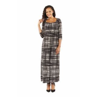 24/7 Comfort Apparel Women's Graceful Glamour Patterned Maxi Dress