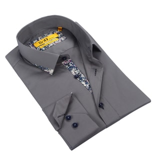 Brio Mens Grey Dress Shirt with Confetti Trim
