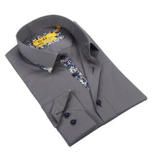 Brio Mens Grey Dress Shirt with Confetti Trim