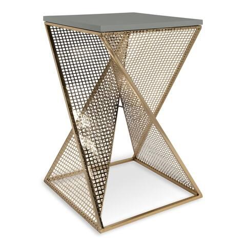 Kate and Laurel Elita Wood and Metal Pedestal End Table