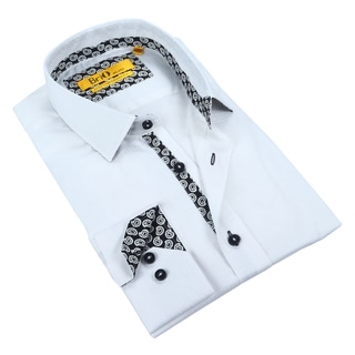 Brio Mens White with Paisley Dress Shirt