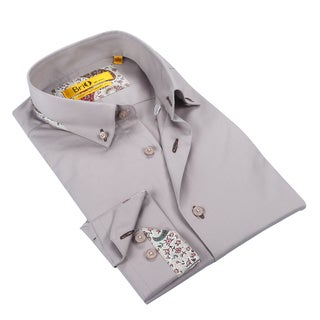 Brio Mens Solid Light Grey Dress Shirt