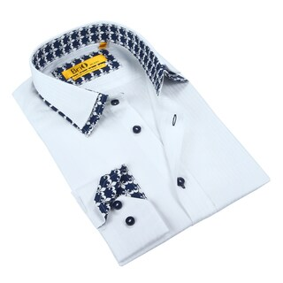 Brio Mens Solid White with Double Collar Dress Shirt