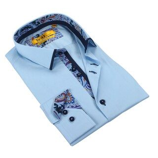 Brio Mens Light Blue with Navy Paisley Trim Dress Shirt
