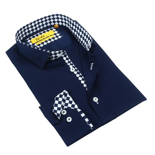 Brio Men's Navy with Checkered Trim Dress Shirt