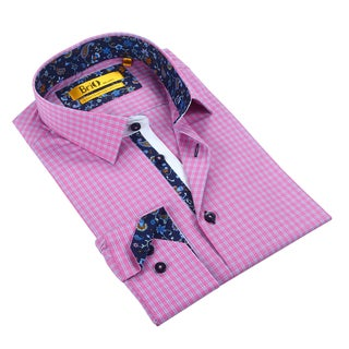 Brio Men's Pink/Blue Checkered Dress Shirt