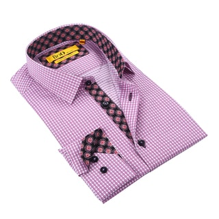 Brio Men's Pink/White Checkered Dress Shirt