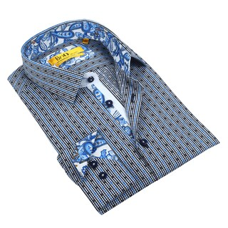 Brio Men's Gingham White/Black/Navy Dress Shirt