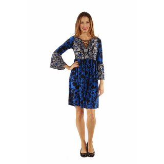 24/7 Comfort Apparel Women's True Colors Lace-up Blue Short Dress