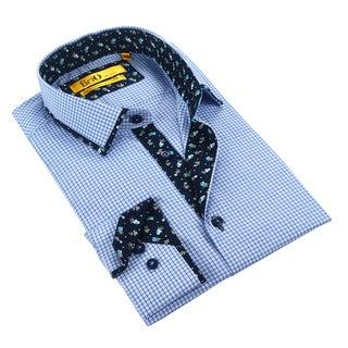 Brio Men's White/Navy Checkered Dress Shirt