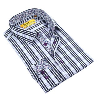 Brio Men's White/Black/Purple Plaid Dress Shirt