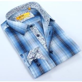 Brio Plaid Button up with Paisley Trim Dress Shirt