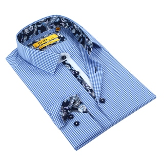 Brio Men's Checkered Blue/White/Navy Dress Shirt