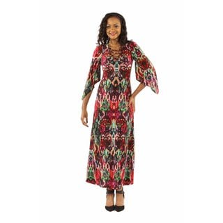 24/7 Comfort Apparel Women's Dazzling Jewel Print Maxi Dress