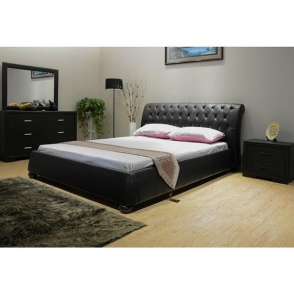 Greatime Scrolled Upholstered Platform Bed